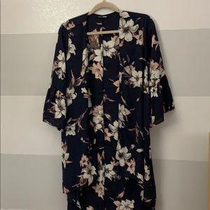 Fashion Nova Navy Blue Flower Kimono
